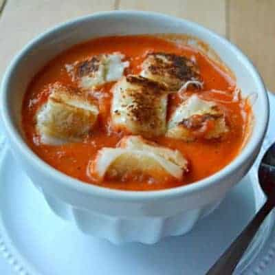 Fire-Roasted Tomato Red Pepper Soup with Grilled Cheese Croutons