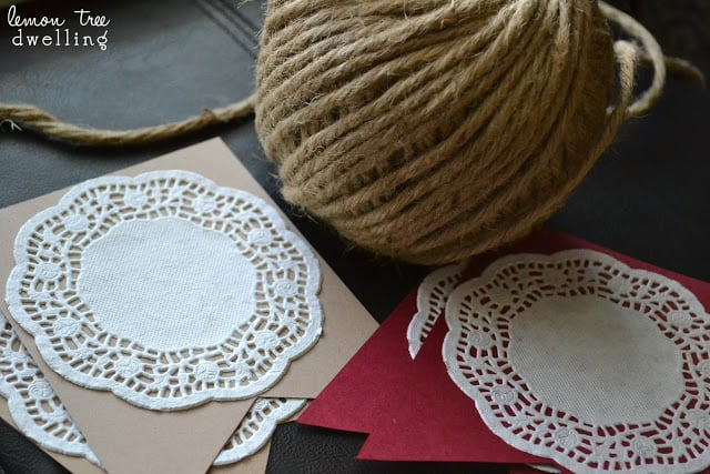 craft supplies to make a simple garland of Valentine's Day hearts