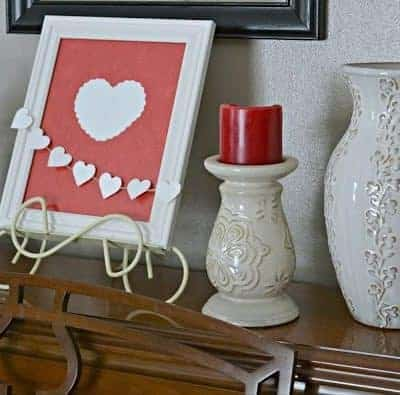 Valentine's Day Vignette - home decor for Valentine's Day