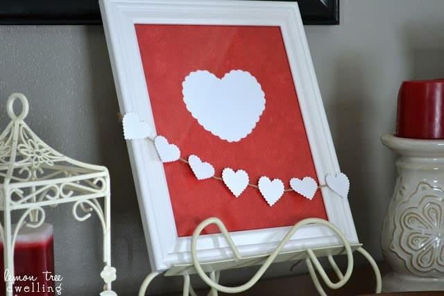 Valentine's Day mantle decor