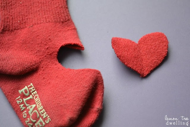 fabric hearts cut out from an old red sock