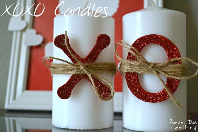 xoxo candles for Valentine's Day