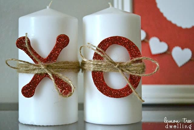 Festive Valentine's Day Candles decorated with x's and o's