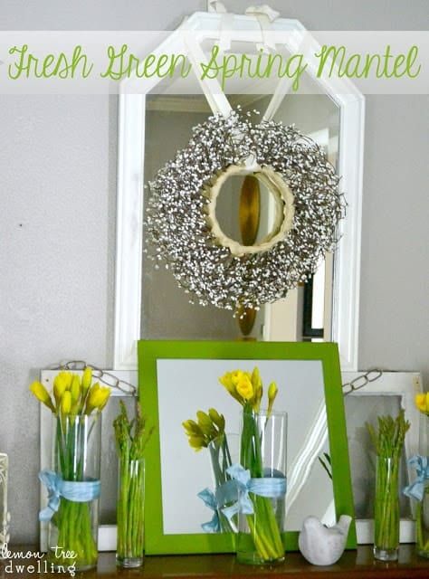 fresh green spring mantel