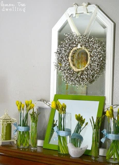 Spring mantel home decor