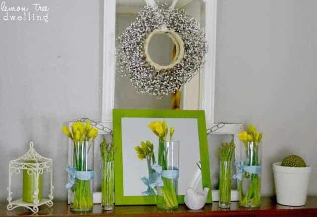 mantel decor in spring green and yellow colors