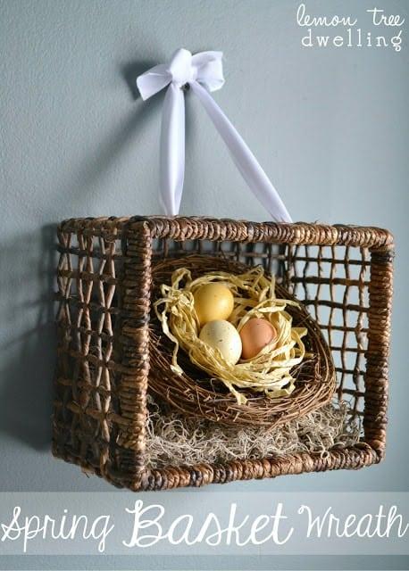 homemade craft - spring basket wreath