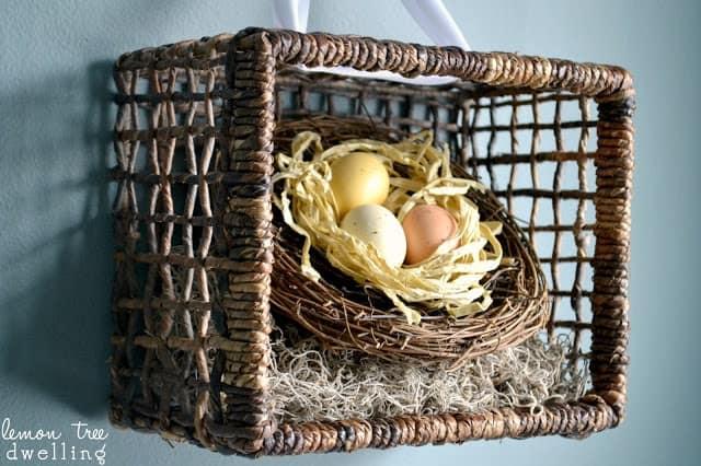DIY hanging art - spring basket