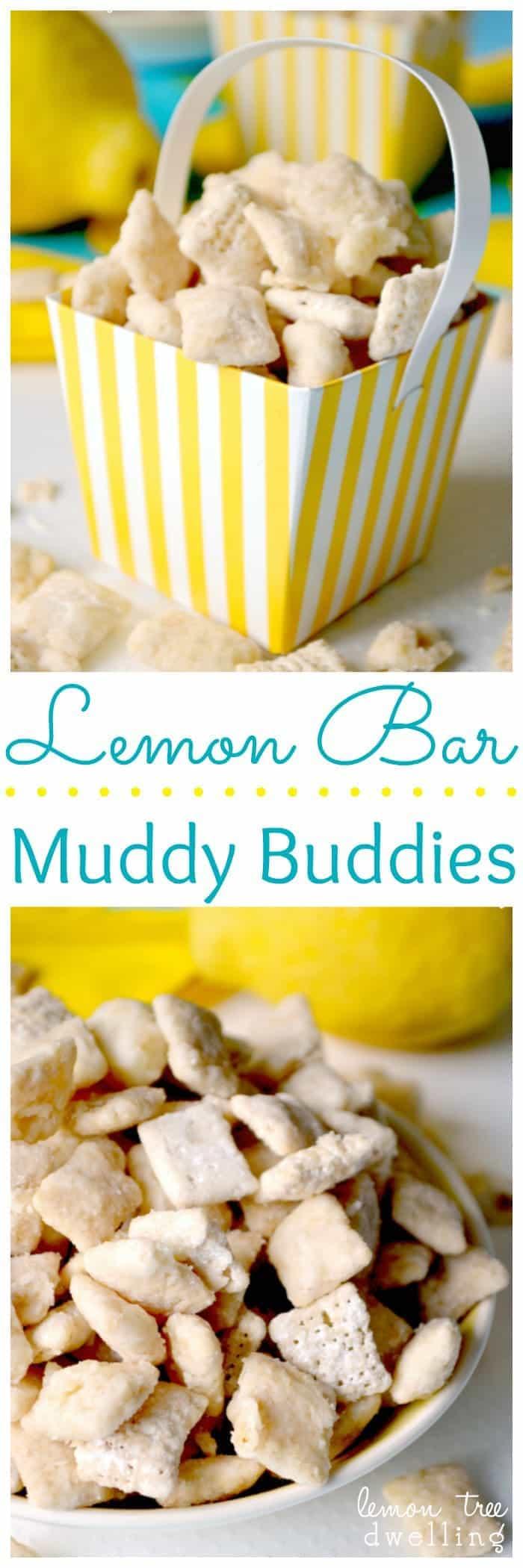 White Chocolate & Lemon Curd Muddy Buddies are the perfect summer treat….and taste just like real Lemon Bars!