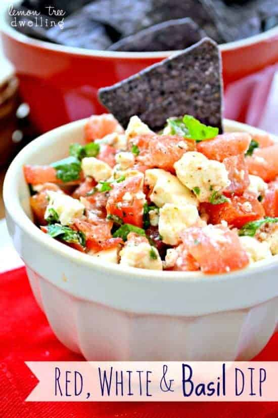 Red, White & Basil Dip - a quick, easy, delicious summer dip recipe!