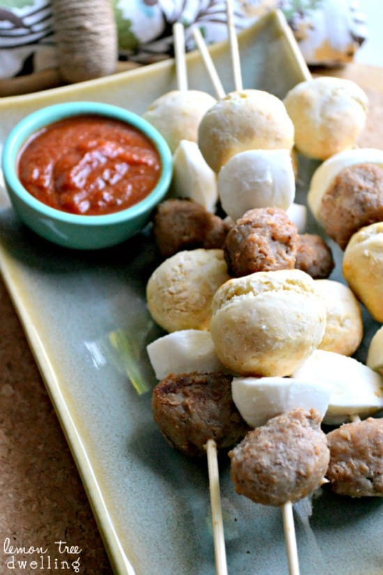 Pizza Kebabs - all the components of pizza, on a stick! Perfect for kids!