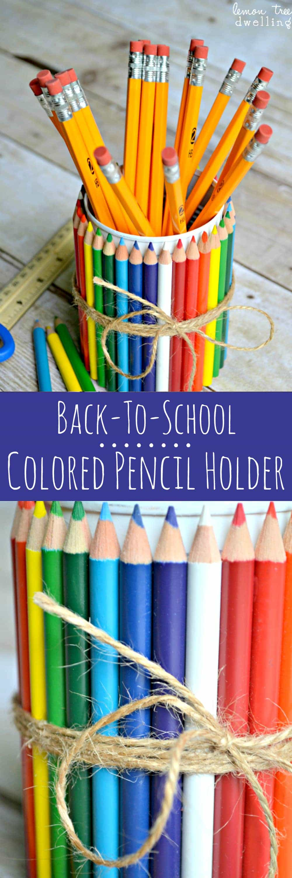 All you need is a tin can, some spray paint, and a couple boxes of colored pencils to make this adorable {Colored} Pencil Holder...the perfect back-to-school Teacher Gift!