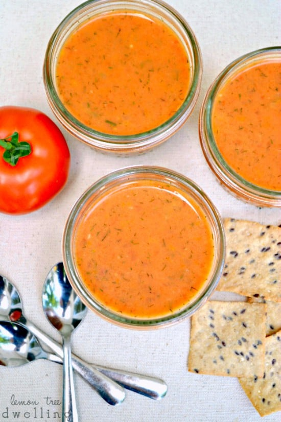 Creamy Tomato-Dill Soup - loaded with veggies and packed with flavor!