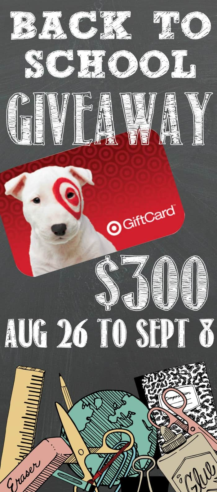 $300 Target Back to School Giveaway to help lighten the load of all those backpacks, pencils, markers, etc! via www.wineandglue.com