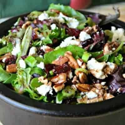 Cherry Pecan Goat Cheese Salad is a refreshingly beautiful side dish, filled with rich holiday flavors.