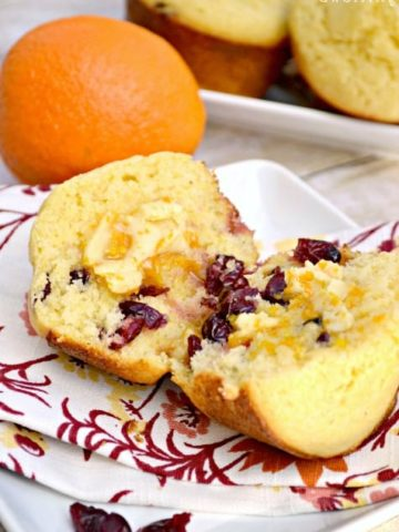 Cranberry Corn Muffins with Sweet Orange Honey Butter blend a classic corn muffin with cranberries and top it with sweet orange honey butter.