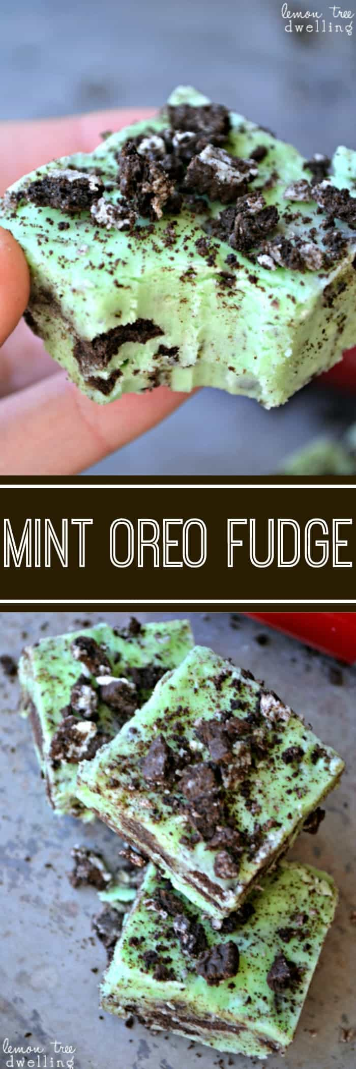 No-Bake Mint Oreo Fudge is a quick and easy dessert ready to share with others. This 5 minute treat is a rich and creamy peppermint fudge filled and sprinkled with chocolatey Oreo cookies.