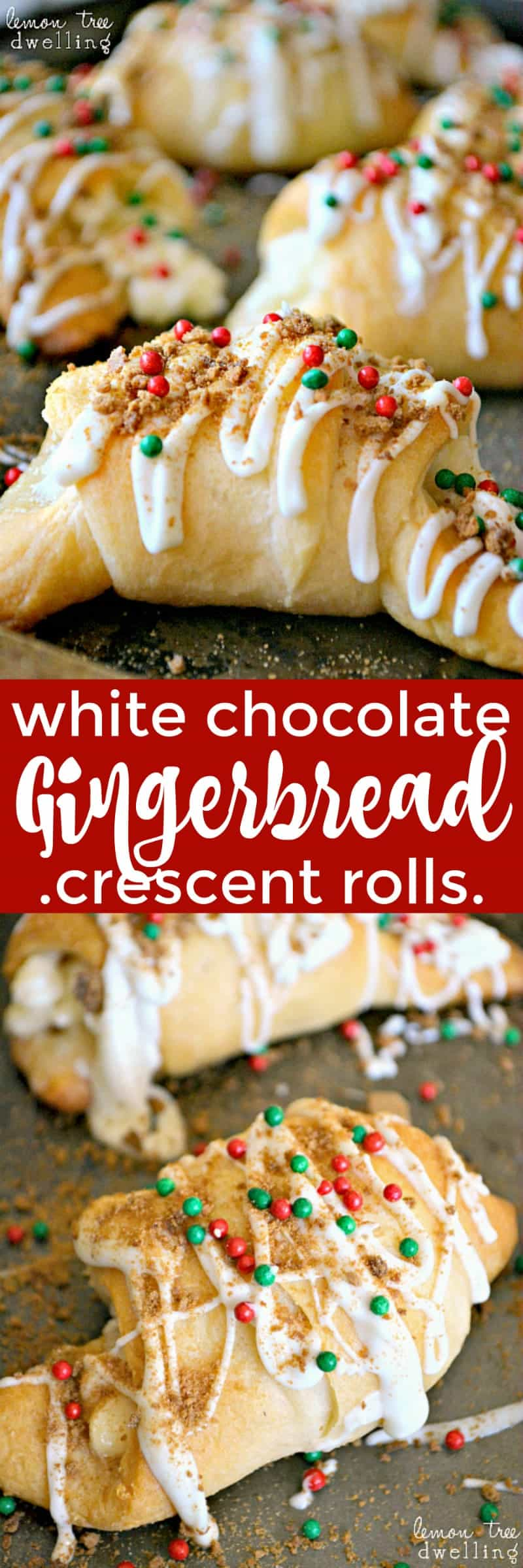 These White Chocolate Gingerbread Crescent Rolls are filled with gooey white chocolate, cream cheese, and crushed gingersnaps and topped with a white chocolate gingersnap drizzle. A perfect holiday breakfast treat!