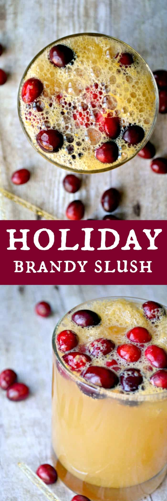 Delicious brandy slush mixed with ginger ale and fresh cranberries....a beautiful, bubbly, and festive holiday beverage!