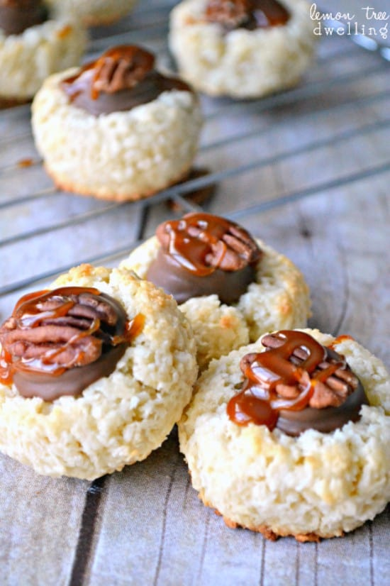 Coconut macaroons topped with Rolos, pecans, and salted caramel sauce. Almond Joy meets Turtle...and it's love at first bite!