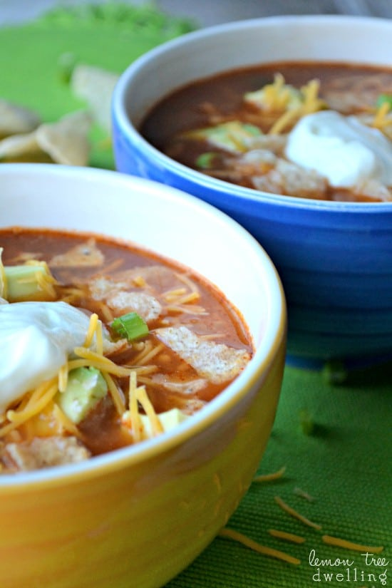 Chicken Tortilla Soup is a delicious Mexican dish. This spicy soup is quick and easy to make in large batches.