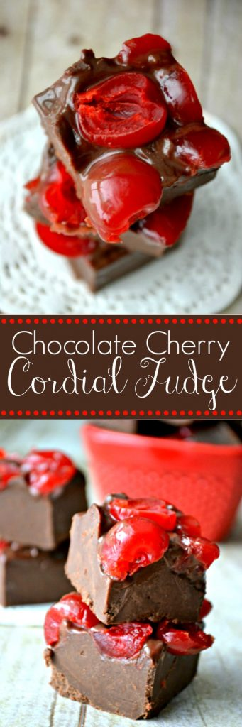 Chocolate Cherry Cordial Fudge is an easy 4-ingredient fudge that is amazing.