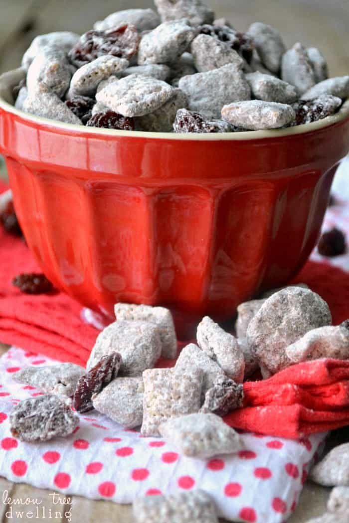 Chocolate Covered Cherry Muddy Buddies. These look SO yummy!