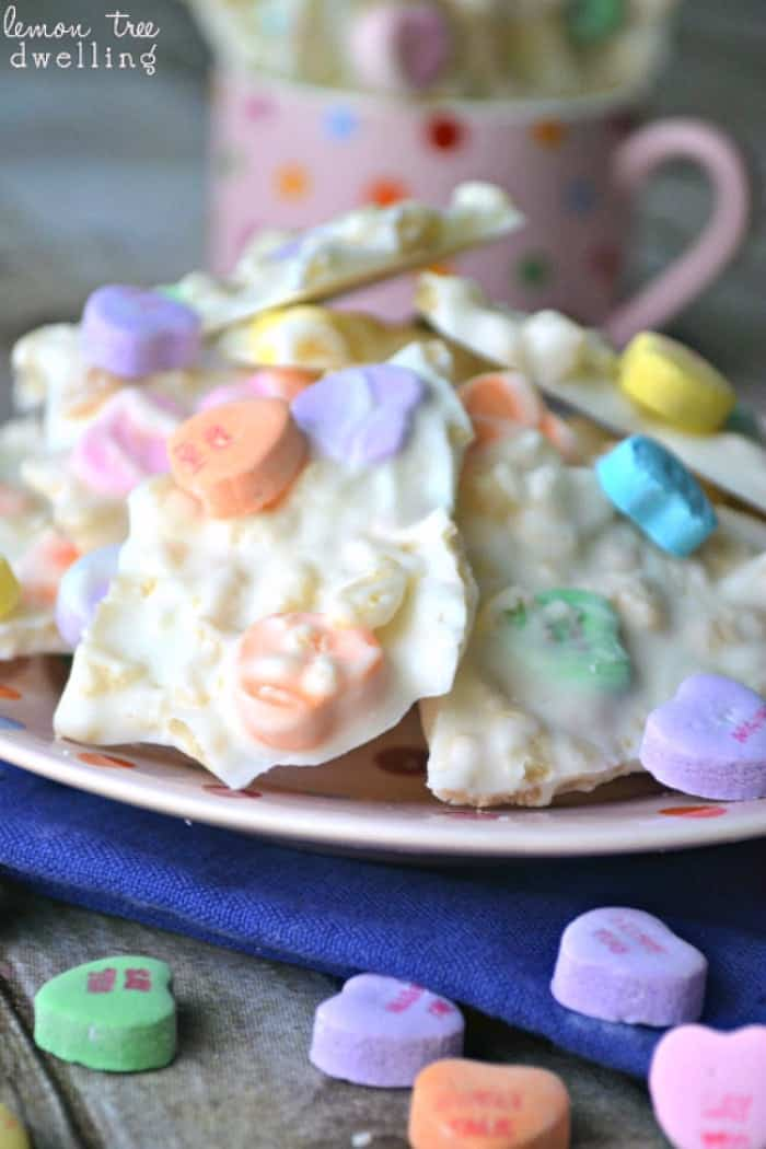 Conversation Heart Krispie Bark. So FUN for Valentine's Day!!