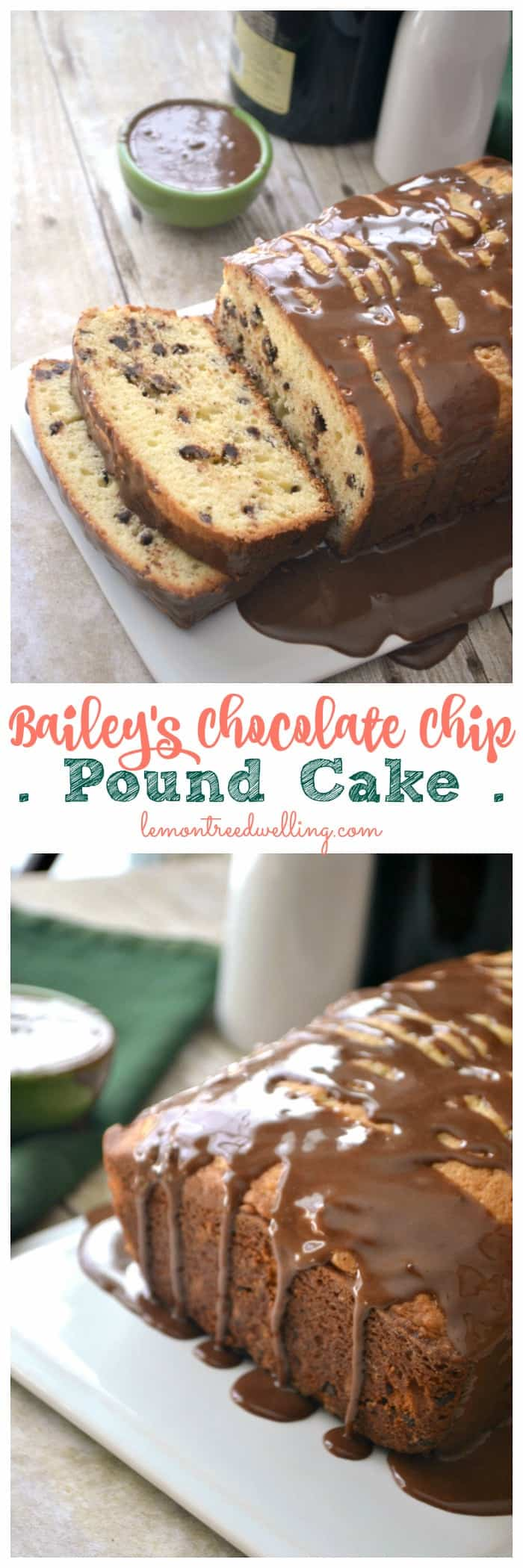 This Bailey's Chocolate Chip Pound Cake is flavored with chocolate chips and Bailey's Irish Cream, then drizzled with a chocolate Bailey's icing. Perfect for breakfast OR dessert!