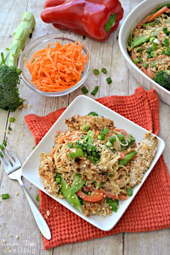 Asian Noodles with Peanut Teriyaki Sauce makes for a quick and easy dinner. This healthy fish recipe whips together in minutes and is a delicious weeknight meal #CookinComfort  #shop #cbias