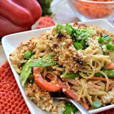 Asian Noodles with Peanut Teriyaki Sauce makes for a quick and easy dinner.