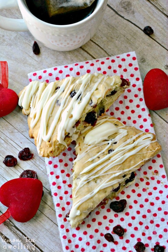 White Chocolate Cherry Scones are perfect with Bigelow Tea!  #AmericasTea, #shop, #cbias