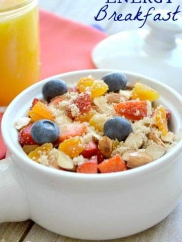 This Energy Breakfast is full of delicious nutrient packed berries and iron rich cream of wheat. This energy packed breakfast bowl will tempt your taste buds and boost your spirits!