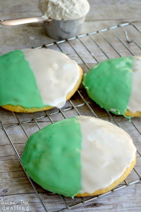 Classic Black and White Cookies with a St. Patty's Day twist of green!