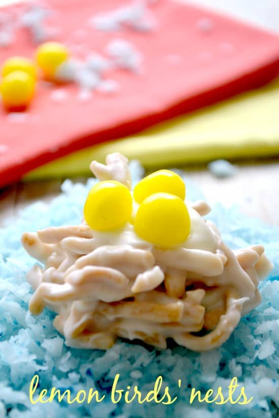 These Lemon Birds' Nest Treats are the perfect sweet treats for Easter! Made with crunchy chow mein noodles covered in lemony white chocolate and topped with 3 Lemonhead birds' eggs, they're cute, simple, and delicious!