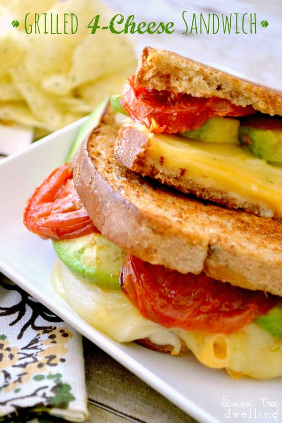 Delicious four cheese grilled cheese sandwich with avocado and tomatoes. The best grilled cheese RECIPE ever! #recipe