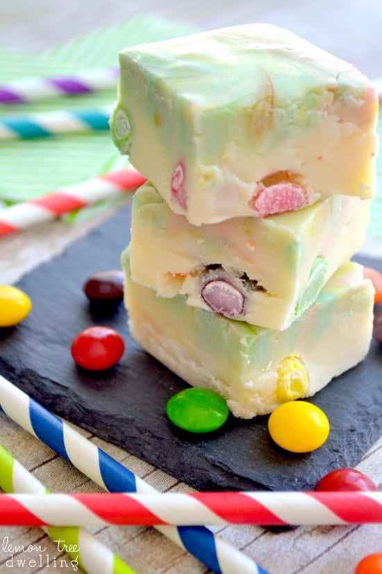 Skittles Rainbow Fudge is a colorful easy treat for St. Patrick's Day