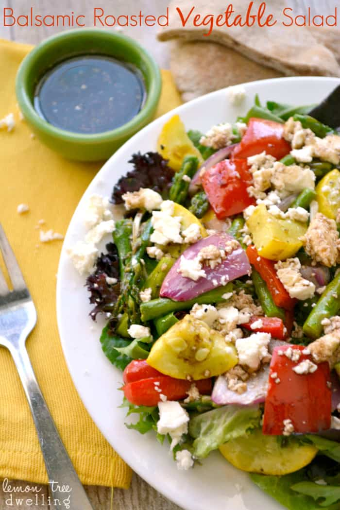 Balsamic Roasted Vegetable Salad on mixed greens with feta cheese and homemade balsamic vinaigrette dressing