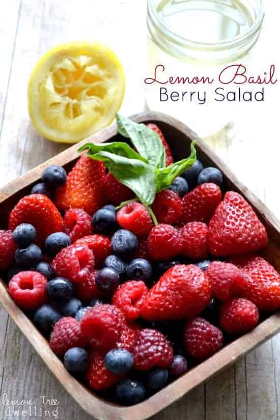 Lemon Basil Berry Salad - made with fresh berries and homemade lemon-basil simple syrup
