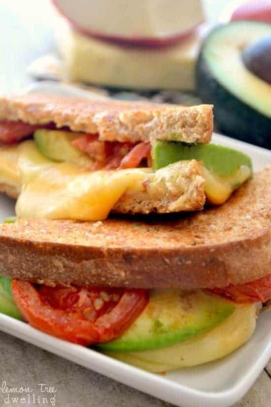 Loaded Grilled 4-Cheese Sandwich with avocado and oven roasted tomatoes