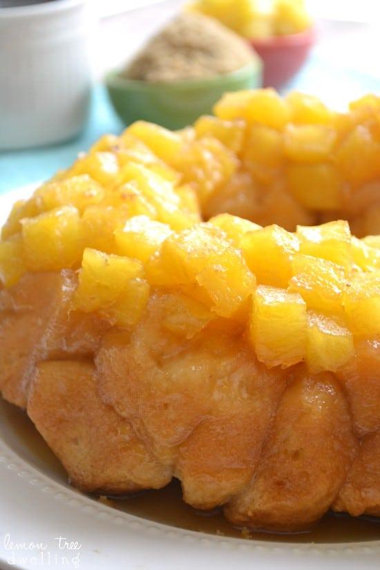 Pineapple Upside Down Monkey Bread - a fresh, delicious twist on cake for breakfast!