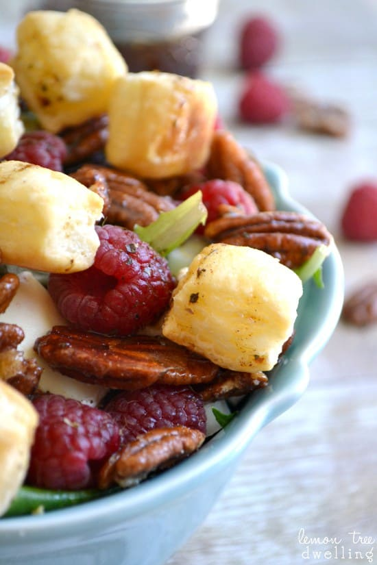 Raspberry Brie Salad with Puff Pastry Croutons & Honey Cinnamon Balsamic Vinaigrette