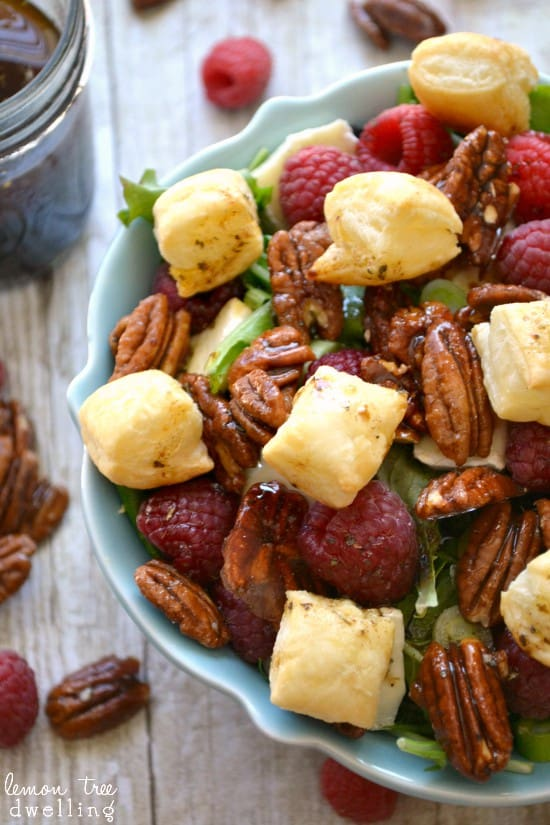 Raspberry-Brie Salad with Puff Pastry Croutons | Lemon ...