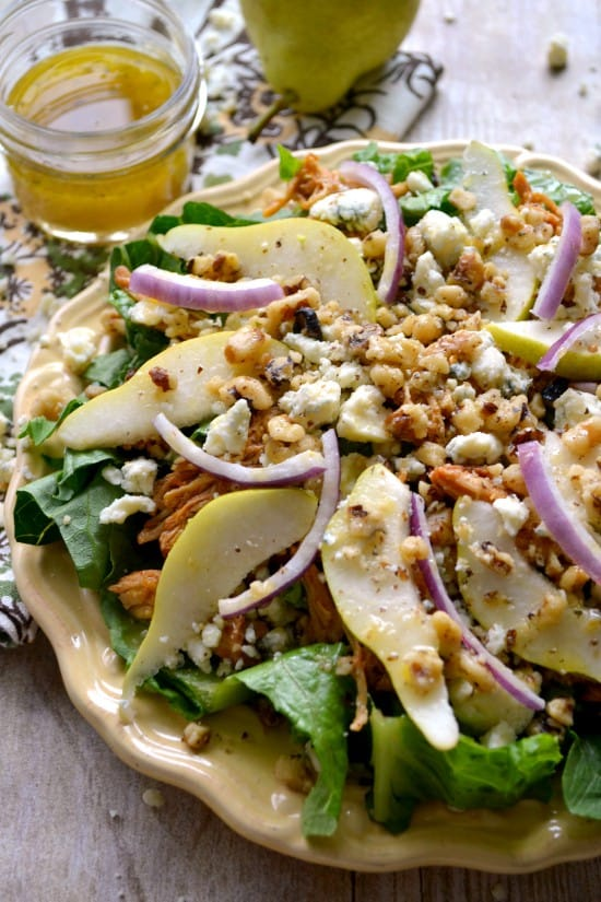 BBQ Chicken, Pear & Gorgonzola Salad - a great way to use up leftover chicken!