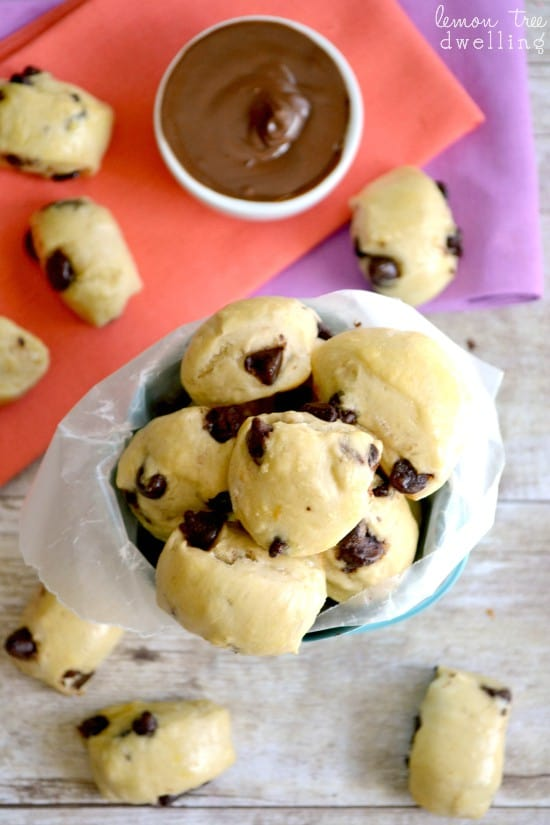 Chocolate Chip Soft Pretzel Bites with Peanut Butter Chocolate Dipping Sauce - I'm in LOVE with this idea!