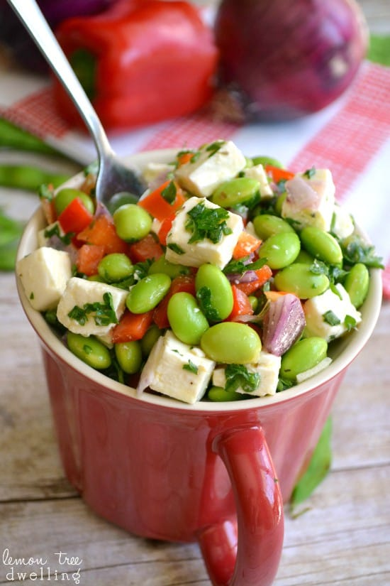 Edamame Feta Salad with red peppers, onions, and a light lemon-herb dressing.