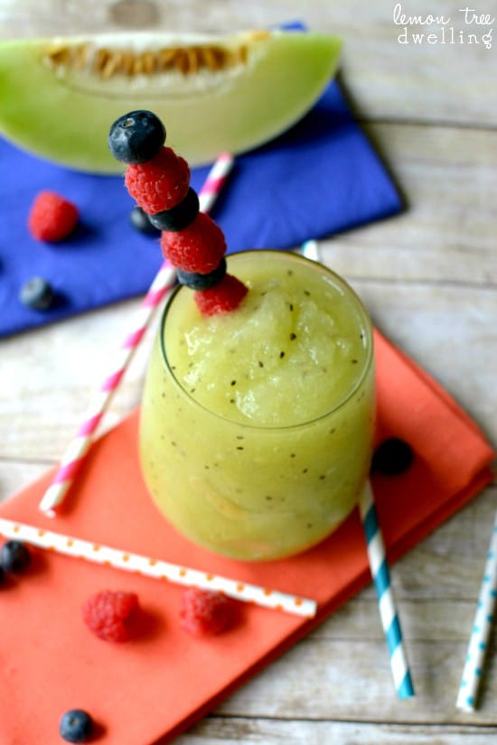 Kiwi Melon Frozen Sangria - delicious flavors in a sweet, refreshing drink!