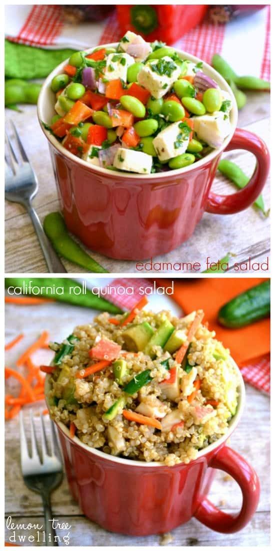 Edamame Feta Salad & California Roll Quinoa Salad - 2 delicious on-the-go meal options!