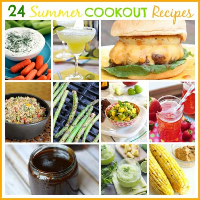 24 Summer Cookout Recipes - everything from appetizers and drinks to main dishes and sides!