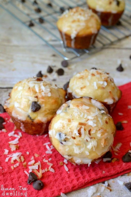 Moist, delicious chocolate chip muffins, infused with coconut extract and topped with a toasted coconut glaze.